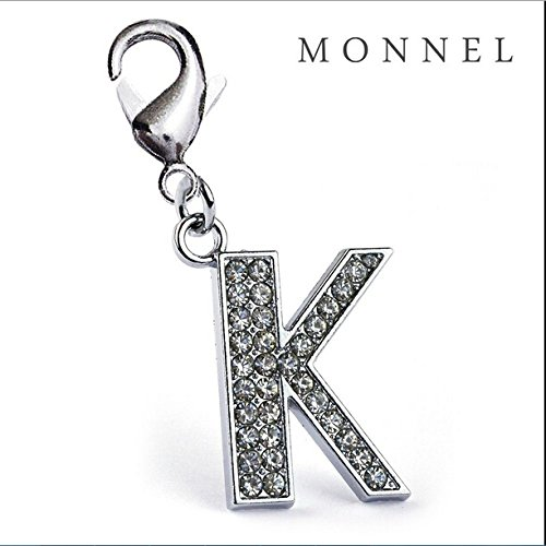 J11-B Adorable Alphabet Initial Crystal Letter K Pet Cat Dog Collar Charm