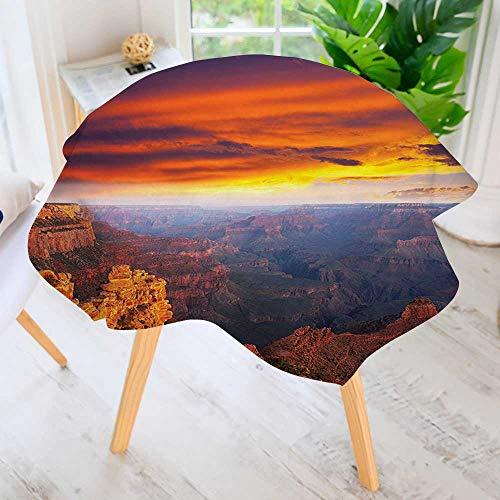"aolankaili Round Tablecloth-View of Grand Canyon with Hazy Magical Sky Round Circular Solid Polyester Tablecloth 50"" Round"