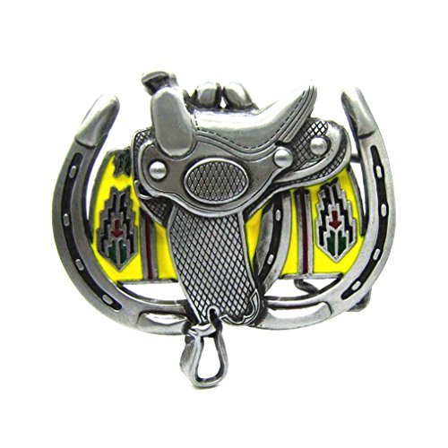 (MASOP Western Cowboy Horse Saddle Horseshoe Metal Heavy Big Belt Buckles For Men)