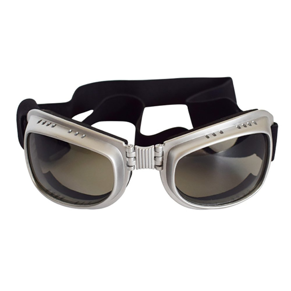 Big Dog Sunglasses Pet Foldable Glasses Windproof Rainproof UV Protection Square Goggles for Medium and Large Dog (Silvery)