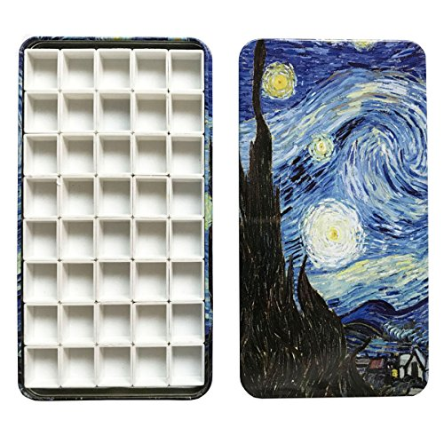 HOME AID Empty 40 Pcs Half Pans with Magnetic Stripe Watercolor Gouache Paint Travel Tin Case Palette Plastic Refills (Watercolor Plastic)