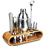 Cocktail Shaker Set Stainless Steel, 12-Piece Bartender Kit with Stylish Bamboo stand, Perfect Home Bartender kit and Cocktail Shaker Set For an Awesome Drinking Experience, Best Gift Choice.