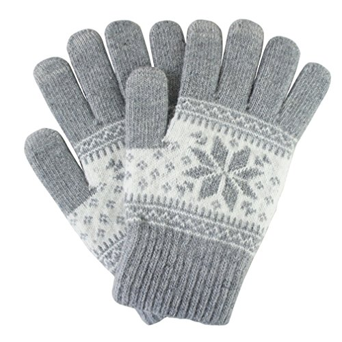 Womens Snowflake Convertible Gloves - Zcargel Winter Warm Christmas Wool Snowflake Touch Screen Gloves Knitted Mittens for Women Men