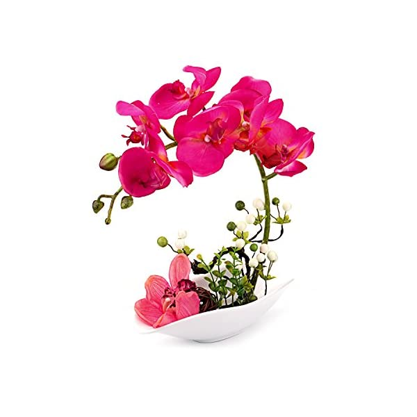 Louis-Garden-Artificial-Silk-Flowers-7-Head-Simulation-Phalaenopsis-Arrangements-Bonsai-Simulation-of-Water-Red