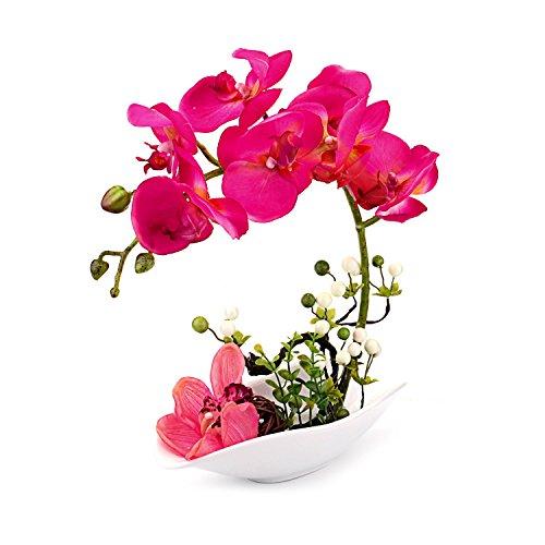Louis Garden Artificial Silk Flowers 7 Head Simulation Phalaenopsis Arrangements Bonsai (Simulation of Water) (Red) (Large Arrangements Orchid)
