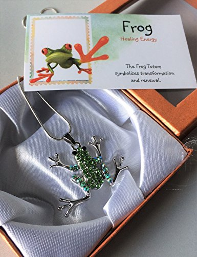 Smiling Wisdom - Frog Necklace Totem Spirit Animal Gift Set - Greeting Card & Green Jeweled Pendant Necklace - Juvenile Artist - Gift for a Tween, Teen, Young Adult, Woman - Birthday, Any Occasion