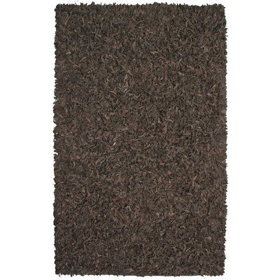 Pelle Leather Shag Rug, 30-Inch by 50-Inch, Dark Brown by - Brown Pelle Leather Rug