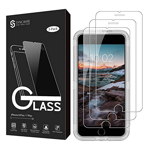 Syncwire Screen Protector for iPhone 8 Plus / 7 Plus [3-Pack], 9H Hardness Anti-Fingerprint Tempered Glass for iPhone 8 Plus/7 Plus [Screen-Alignment Frame Included, Bubble-Free, 3D-Touch Support] (Compare Iphone 6s Plus And Iphone 7)