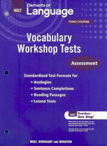Holt Traditions Vocabulary Workshop: Vocabulary Workshop Tests
