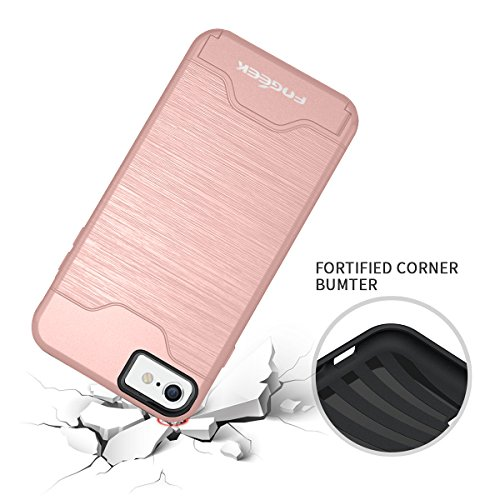iPhone 6 Case : Fogeek Shockproof PC+TPU Dual Layer Protection Card Slot Holder Hybrid Cover with Kickstand for iPhone 6(Rose Gold)