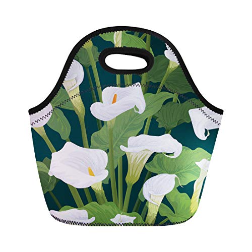Lilies Calla Bordered (Semtomn Lunch Bags White Antique of Calla Lily Flowers Leaves on Dark Neoprene Lunch Bag Lunchbox Tote Bag Portable Picnic Bag Cooler Bag)