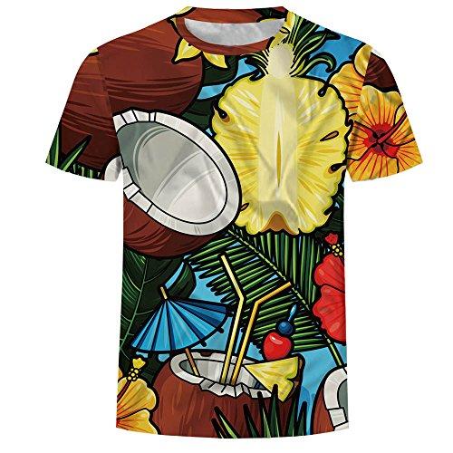 Amlaiworld Slim Multicolore Courtes Hommes Imprimé Top 3d Manches Occasionnel Chemise Fit T Blouse shirt Graphique r8THqr1