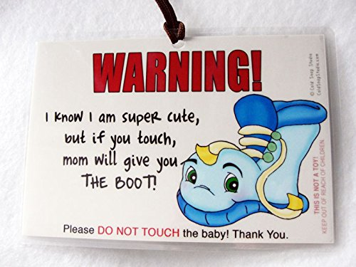 Baby Sign for Car Seat, Don't Touch The Baby 6 x 4 inch Laminated Car Seat Sign by Cold Snap Studio - Mom Will Give You The Boot Sign for Boys - Handmade in The USA!