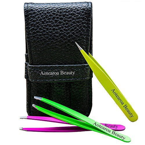 Tweezers for Eyebrows Set of 3 Includes Professional Stainless Steel Pointed, Slant & Straight All In A Travel Pouch- The Best Precision Eyebrow Tweezers