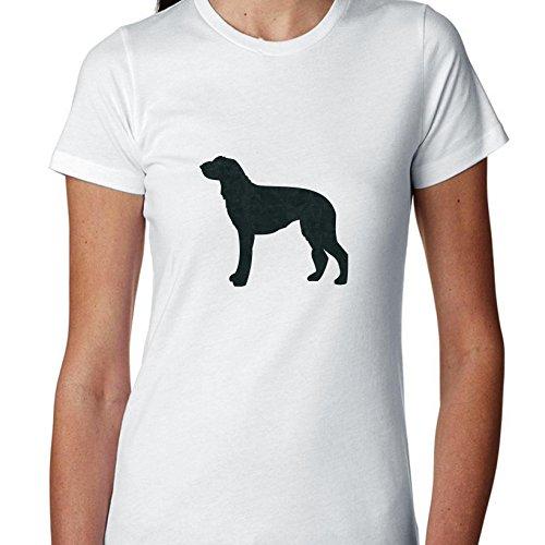 (Hollywood Thread Scottish Deerhound Dog Simple Silhouette 100% Women's Cotton T-Shirt)