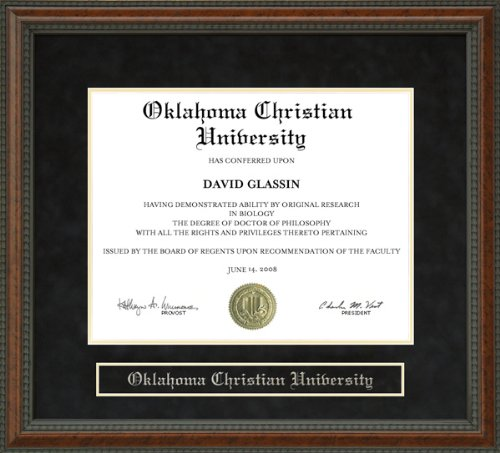 Oklahoma Christian University (OC) Diploma Frame - Burl by Wordyisms