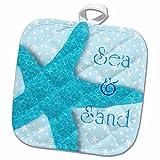 3D Rose Aqua Sea and Sand Starfish-Beach Themed Ocean Art Pot Holder, 8'' x 8''