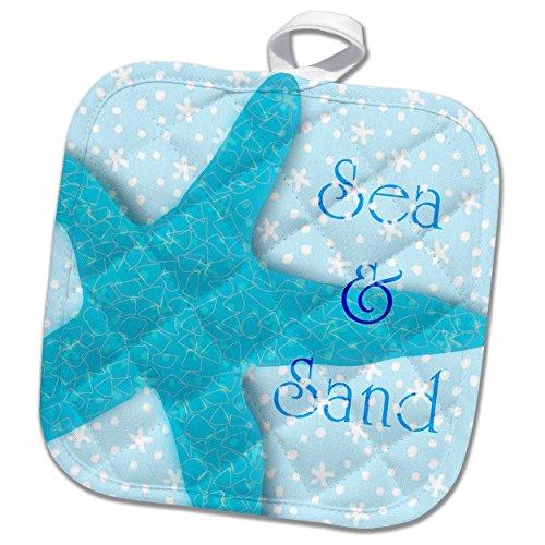 3D Rose Aqua Sea and Sand Starfish-Beach Themed Ocean Art Pot Holder, 8'' x 8'' by 3dRose