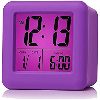 Plumeet Easy Setting Digital Travel Alarm Clock with Snooze,Soft Nightlight,Large Display Time & Month & Date & Alarm, Ascending Sound Alarm & Handheld ...