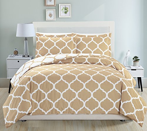 Mk Collection 3pc Queen Size Modern Elegant Reversible Duvet Cover Set Geometric Contemporary Pattern Taupe/White New