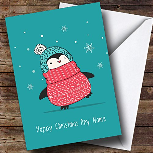 Penguin Jumper - Christmas Holiday Jumper Penguin Personalized Christmas Holiday Greetings Card
