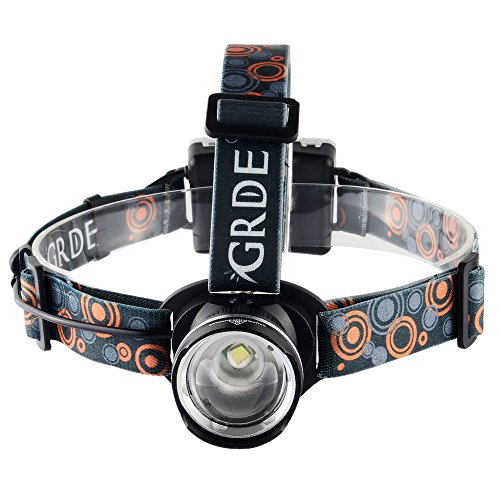 Headlamp,GRDE Rechargeable Led Headlamp Headlight Flashlight 3 Modes with Adj...