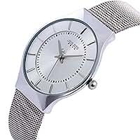 JULIUS Men's White Dial Mesh Stainless Ultra Thin Stylish Quartz Watch Fashion Elegant Wristwatch