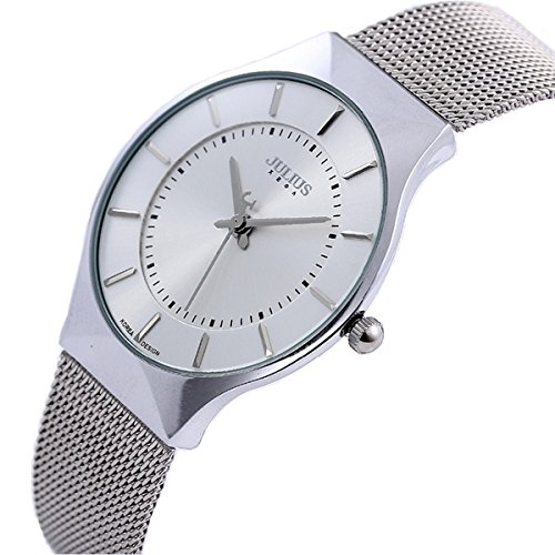 JULIUS Men's White Dial Mesh Stainless Ultra Thin Stylish Quartz Watch Fashion Elegant Wristwatch