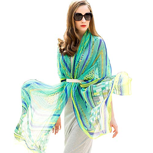 (DANA XU 100% Pure Silk Large Size Women Pashmina (Green))
