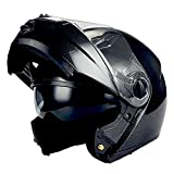 1Storm Commander Motorcycle Modular Full Face Helmet Flip up Dual Visor/Sun Shield; Carbon Fiber Black