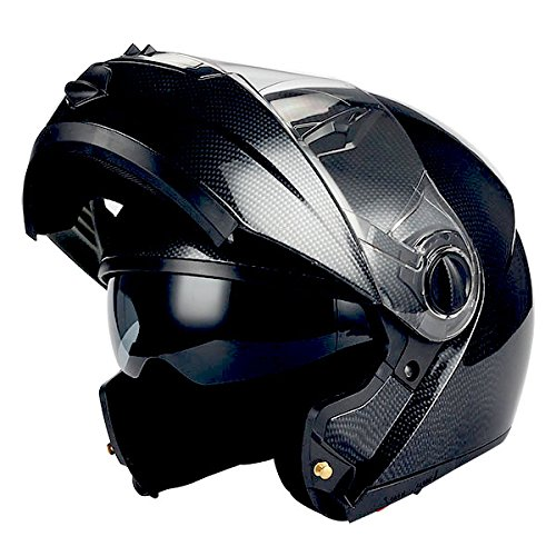 1Storm Commander Motorcycle Modular Full Face Helmet Flip up Dual Visor/Sun Shield; Carbon Fiber Black - Max Full Face Modular Helmet