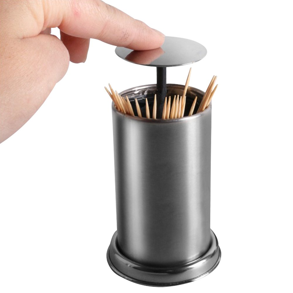 Loghot Retractable Stainless Steel Toothpick Holder Toothpick Dispenser Storage Organizer Home Hotel Decoration
