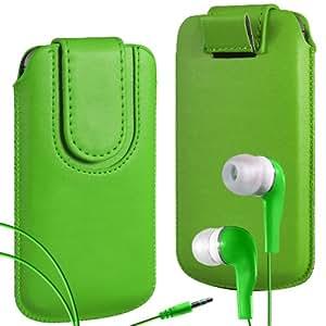 N4U Online Premium PU tirón del cuero del tirón del caso Tab cubierta de bolsa Con magnética Cierre de correa y juego Earbud Auriculares para Huawei Ascend P1 - Verde