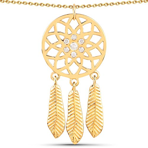 LoveHuang 0.18 Carats Genuine White Diamond (I-J, I2-I3) Dream Catcher Pendant Solid .925 Sterling Silver With 18KT Yellow Gold Plating, 18Inch ()