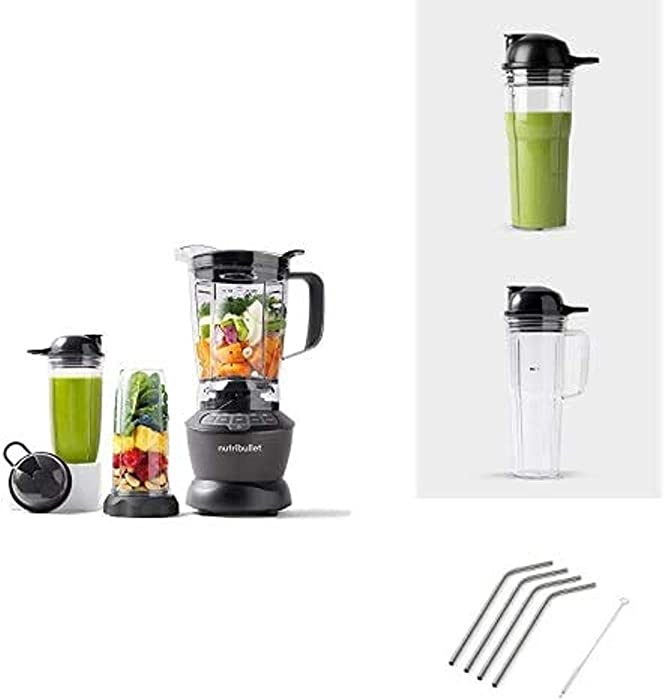 NutriBullet Blender Combo Bundle with 20oz Cup, 24oz Cup and 4pk Stainless Steel Straws