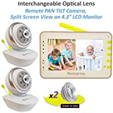 """MoonyBaby Video Baby Monitor, Split Screen, Two Cameras System, PAN TILT Camera, Digital Camera with Extra Optical Zoom in Lens, 4.3"""" LCD Large Monitor, Night Vision, Temperature, Two Way Talkback"""
