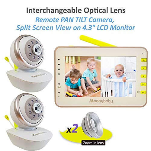 (MoonyBaby PAN TILT Camera, Split Screen, Two Cameras System Digital Video Baby Monitor with Extra Optical Zoom in Lens, 4.3