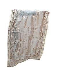 Art Silk Scarf Dupatta Head Wrap Hijab Mirror sequence Work Beige Dupatta