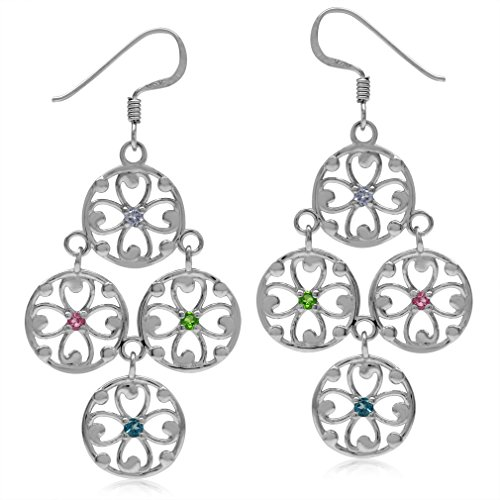 Tanzanite, Chrome Diopside, Tourmaline & London Blue 925 Sterling Silver Flower Chandelier ()