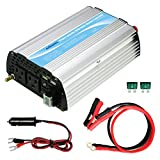 GIANDEL 600W Car Power Inverter 12V DC to 120V AC with 20A Solar Charger and Dual 2.4A USB and AC outlets with Cigarette Lighter & Alligator Clips Cables for Tablets Laptops Smartphones