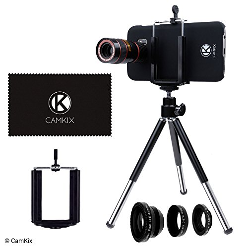 CamKix Lens Kit for Samsung Galaxy S7 and S7 Edge - 8x Telephoto Lens, Fisheye Lens, Macro Lens, Wide Angle Lens, Tripod, Phone Holder, Hard Case (2x), Velvet Bag and Cleaning Cloth