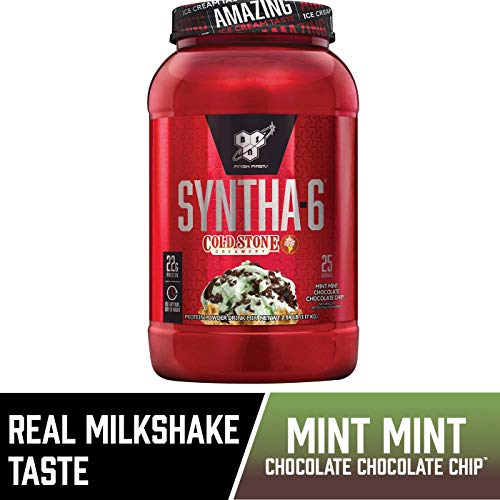 BSN Syntha-6 Whey Protein Powder, Cold Stone Creamery- Mint Mint Chocolate Chocolate Cake Flavor, Micellar Casein, Milk Protein Isolate Powder, 25 Servings