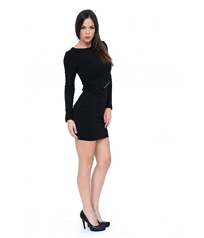 fb79748f3277 New Imperial black business elegant midi dress with transparent long sleeves:  Amazon.co.uk: Clothing