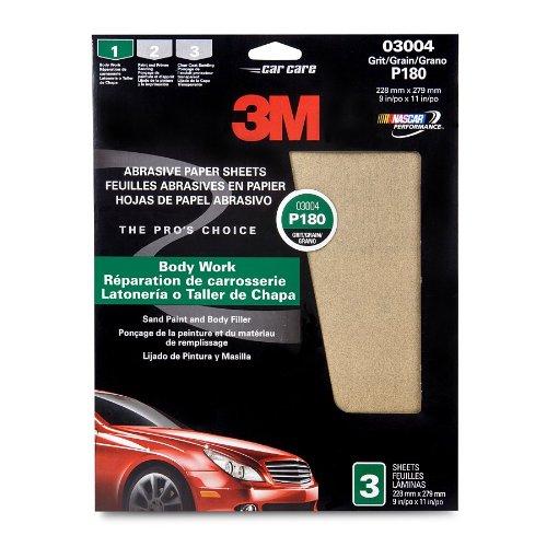 3M 03004 9'' x 11'' Fine Aluminum Oxide Automotive Sandpaper (Pack of 40)