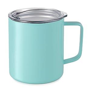 Maars Drinkware 79712-1PK Townie Stainless Steel Insulated Coffee Mug Double Wall Vacuum Sealed Tumbler-14 oz, 1 Pack, Seafoam Blue