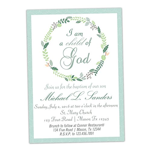Baby Blue Child of God Boy Baptism Invitations Communion (Baby Boy Christening Invitations)