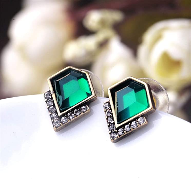 Finery women flower whimsical jewelry gift idea Adjustable ring silver earrings stud earring green glass cabochon Emerald