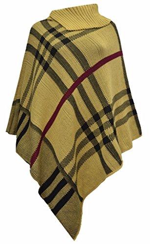 MKL Fashions - Poncho - para mujer Mustard & Black Check Print