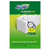 Swiffer Sweeper Dry Sweeping Pad Refills, Hardwood Floor Mop Cleaner Cloth Refill, Unscented, 64 Count - Pack of 6