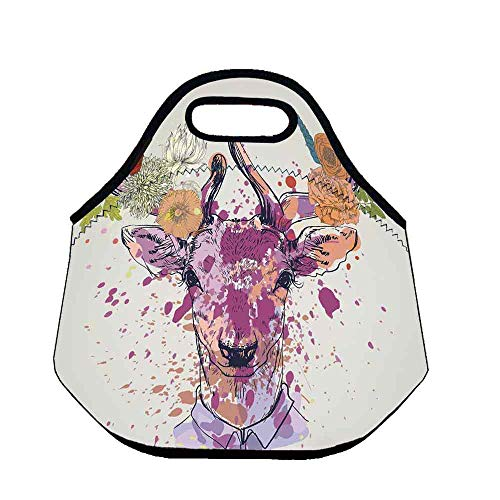 - Indie Wear Resisting Neoprene Lunch Bag,Artistic Colorful Deer Portrait with Color Splashes and Various Flowers on the Horns for Picnic Beach Office,Throw(11.8''L x 6.3''W x 11''H)